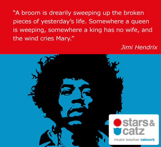 Jimi Hendrix Music Quote Image.